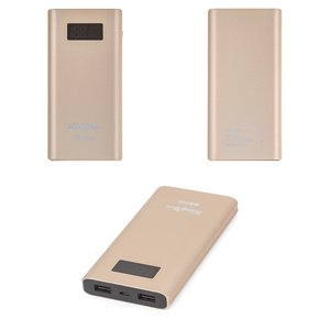 Power Bank KingYou KP-21, (11000 mAh, 2 USB outputs 5 V 3 A, 138 × 66 × 14 mm, golden)