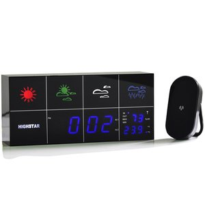 Светодиодная метеостанция HSD1143B (с будильником, датчиком температуры наружного воздуха)