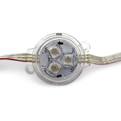 Round LED Module Kit WS2811, optical lens, 3 SMD5050 LEDs, 30 mm, IP67, 20 pcs.